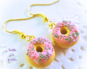Earrings donuts polymer clay fimo, jewelry handmade with love, golden métal