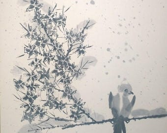The bird on the maple. Original Sumi-E painting