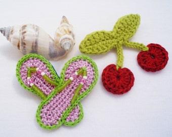 Cherry brooch, sandals brooch, crochet brooch, summer brooch