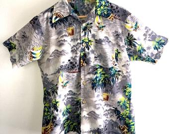 Vtg 70s Mens Hawaiian Shirt Medium Royal Highlander Aloha Tiki Short Sleeve