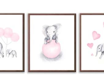 Elephant Prints for Baby Girl Nursery, Elephant Nursery Decor, Kids Room Wall Art Prints in Pink and Gray, Set of Three - S031B