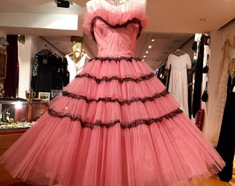 1940's Tulle Party Vintage Couture Dress