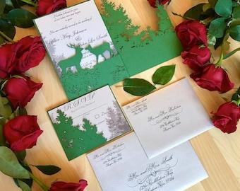 Forest laser cut invitation set Deer elk kissing in the pine trees gatefold and RSVP pocket