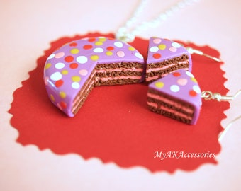 Cake necklace - little girls jewelry - food jewelry - chocolate cake jewelry - food miniature - nickel free earrings - kids necklace - kids