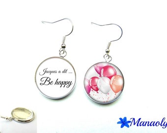 """Earrings """"Simon says... be happy"""", phrase, quote, 2416 glass cabochons"""