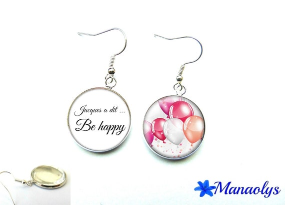"Earrings ""Simon says... be happy"", phrase, quote, 2416 glass cabochons"