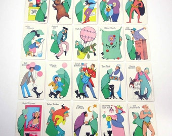 Vintage Old Maid at the County Fair Children's Playing Cards with Cute Characters Set of 20