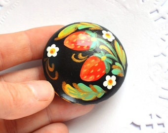 Hand painted Brooch strawberry Jewelry flower pin red berries colorful brooch woodland eco friendly Gift Ideas inspired by nature red green