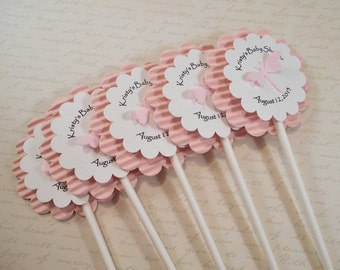 12 Dragonfly Cupcake Toppers Personalized, Baby Shower Picks, Food Picks, Cake Toppers, Party Decor