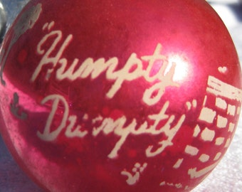 Vintage Shiny Brite Christmas Ornament Nursery Rhyme Humpty Dumpty Red Christmas Tree