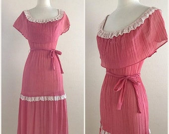 SHOP SALE Vintage Pink Prairie Dress - 1960s 1970s - Boho Spanish Mexican Fiesta Wiggle Dress - Pinup Rockabilly - Below the Knee Size Small