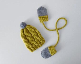 Newborn Beanie and Mittens Set, Baby Beanie, Newborn gift, Baby 0-3 mo, Wool Beanie