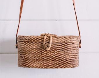 Balinese Crossbody Bag- Box bag- Basket Bag - Straw Bag- Summer Bag- Wicker Bag- Boho Bag- Woven Purse- Woven Bag- Hippie Bag- Bohemian Bag