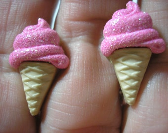 "Play Earring - Clip - Ice Cream Cone - Sparkly Pink - 1/2""x7/8"""
