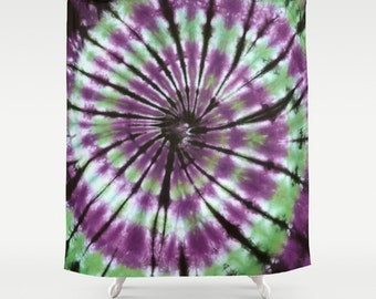 Fabric Shower Curtain-Green Purple Black Spiral Tie Dye-Decorative Shower Curtain-71x74 inches,