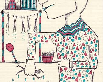 "ORIGINAL Pen & Ink Marker Drawing (Unframed) - ""New Year New Me"""