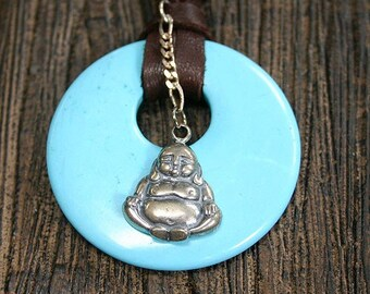 Leather Necklace with Sterling Silver Buddha and Turquoise