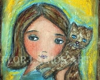 Mädchen mit Katze - Volkskunst-Holzschnitt von Gemälde (6 x 6,25 Zoll drucken) von FLOR LARIOS
