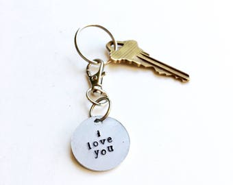 I LOVE YOU // Hand Stamped Key Chain