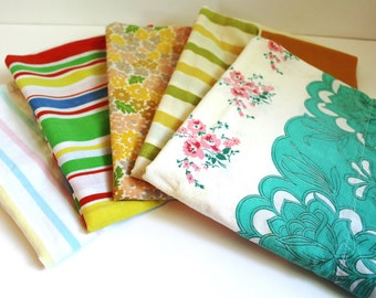 5 VINTAGE PILLOWCASES LOT Yellow Pink Blue Orange Flower Stripe Print From Sheets Set, Pillowcases Only 1960s 1970s Flower Retro Fabric Bed