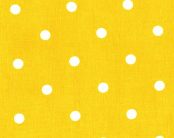 100% premium quilting cotton fabric by the yard, apparel fabric, yellow and white polka dot sewing cotton by Paula Prass for Michael Miller