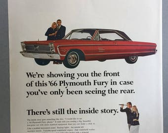 1966 Chrysler Plymouth Fury Print Ad - Vintage Car Ad