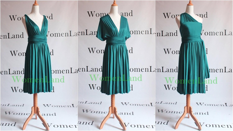 Knee Length Infinity Dress Convertible Dark Teal Green Woman