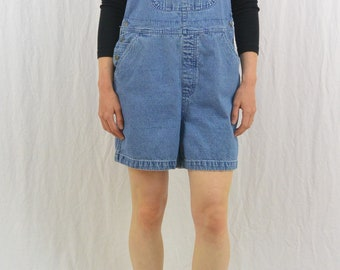 Vintage Denim Shortalls, Size Medium, Overall Shorts, 90's Clothing, Embroidered Flower, My So Called Life, Grunge, Tumblr Clothing