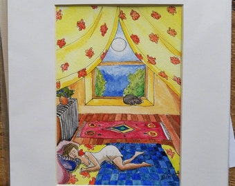 """Cat Napping a colorful original watercolor, 5"""" x 7"""" in 8"""" x 10"""" mat."""