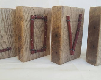 Wood and twig block letters - LOVE