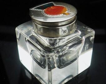 Silver Agate Inkwell, Scottish Thistle, Hallmarked Birmingham 1921, James Fenton, English, Desk, Vintage,  REF:323D