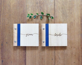Wedding Vows Book. Bride and Groom. Wood Wedding Book. Engagement Gift.
