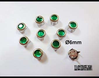 * ¤ Claw 10 PCs rhinestone green - Ø 6mm round ¤ * #D46