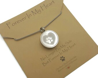 Pet Memorial Cremation Jewelry Paw Print, Pet Urn Necklace, Pet Cremation, Pet Loss Gift, Loss of Dog or Loss of Cat, Stainless Steel Urn
