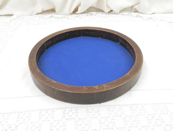Vintage French Wooden Dice Tray with Blue Fabric Cloth Base, Game Playing Die Plateau from France Made of Wood and Material from Cafe Bistro