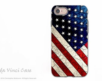 American Flag iPhone 7 and iPhone 8 Tough Case - Dual Layer Protection - U.S. Flag Art - Stars and Stripes by Da Vinci Case