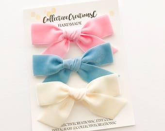 Velvet Bows - Spring Velvet Bows - Velvet Ribbon Bows - Easter Velvet Bows - Velvet Ribbon Bow - Pink Red Tied Bow - Pink Velvet Headban