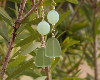 Frosted Beaded Spring Green Earrings