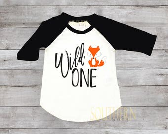 Fox Wild One Birthday Shirt, One, 1 Birthday, 1st Birthday, Fox,  Wild One, Raglan, First Birthday,Birthday, Birthday,  outfit