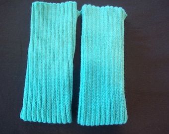 Teal Knitted Legwarmers, Excercise, Acrylic Leg warmers, Dance Legwarmers, Boot Legwarmers