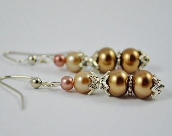 FREE SHIPPING, Brown dangle earrings, Brown pearl earrings, Champagne earrings, brown dangles