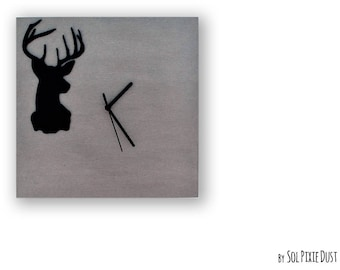 Concrete with Deer Silhouette TYPE 2- Square Wall Clock  - Modern Wall Clock