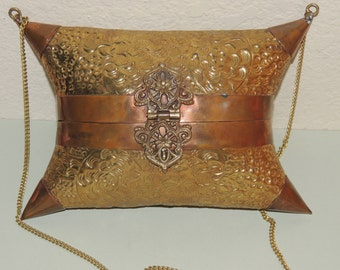 Vtg Puffy Pillow Metal Purse with Velvet Lining Brass and Copper
