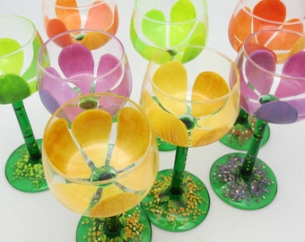 Tiptoe Through the Tulips with this Set of 8 hand painted multi colored wine glasses - French Vintage Crystal