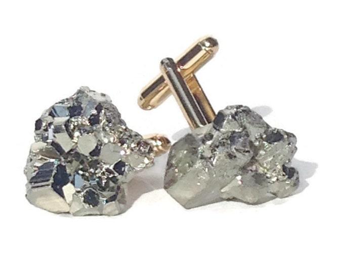 Pyrite Cufflinks--Pyrite Cuff Links--Gold Cufflinks--Stone Cufflinks--Groom Cufflinks--Gold Plated Cufflinks