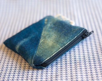 Cyanotype Coin Purse With Diagonal Detail and Navy Blue Zipper
