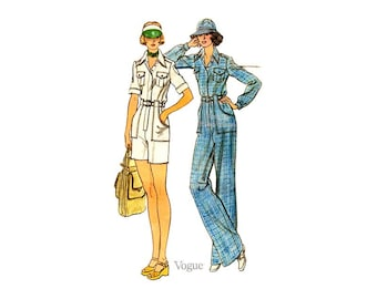 70s Womens Jumpsuit Pattern Vogue 9174, Loose fit, Straight Leg Pants or Bermuda Shorts, Womens Romper Vintage Sewing Pattern
