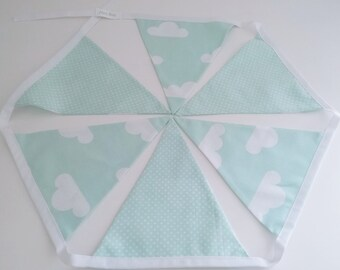 Mint green clouds bunting. Modern nursery. Nursery bunting. Decoration. Nursery decor. Kids room. Wall decor. Baby shower gift.