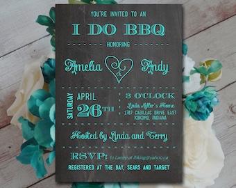 I DO BBQ Bridal Shower Invitation Template - Chalkboard Wedding Shower Template - Teal Chalkboard Couples Shower Invitation Download