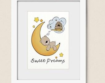 5 x 7 Childrens Art, Babys Room Print, Teddy Bear Wall Decor for Nursery, Moon and Stars Kids Wall Art,  (254)